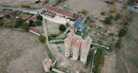 укрепленный : Aerial view of medieval fortification Chateau Sarzay in France Стоковые видеозаписи