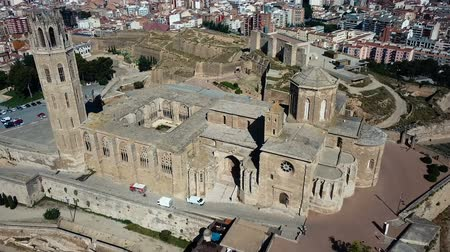 romanico : Aerial view of the cityscape of Lleida and main historical sightseeing Old Gothic Cathedral, Catalonia, Spain