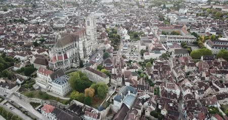 torre sineira : AUXERRE, FRANCE - OCTOBER 10, 2018: Abbey, Burgundy, France