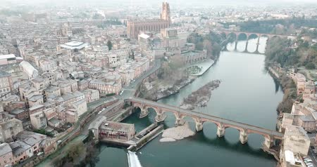 episcopal : View from Albi with Sainte-Cecile cathedral and Tarn river, France