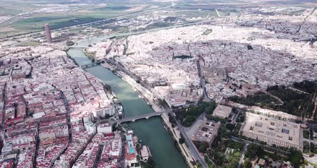 Мария : Majestic panorama of the Spanish city of Seville Стоковые видеозаписи