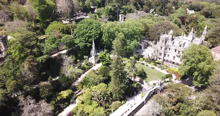 national park : Quinta da Regaleira Palace in the municipality of Sintra. Panoramic view from drone. Portugal