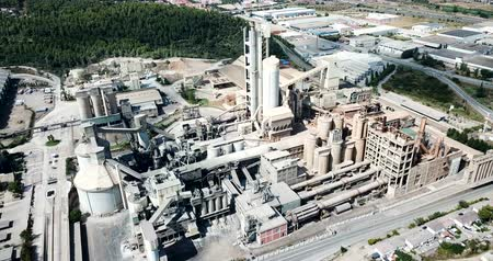 миномет : Industrial background with large cement factory. Aerial view Стоковые видеозаписи