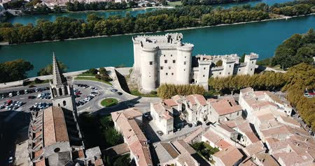 architectural heritage : Beautiful panoramic view of Chateau de Tarascon from drone at sunny day