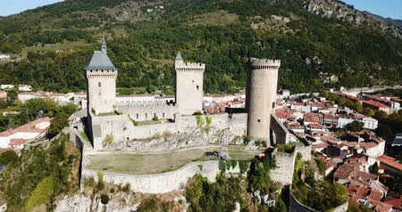 fortress : Picturesque autumn landscape with ch?teau de foix on hill, France