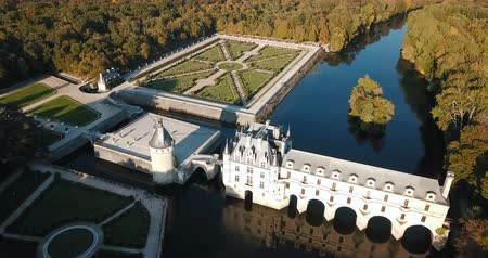 культурный : Chateau de Chenonceau in Loire Valley, France Стоковые видеозаписи