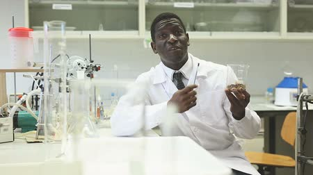 competence : Portrait of proffesional man lab scientists in interior of laboratory Stock Footage