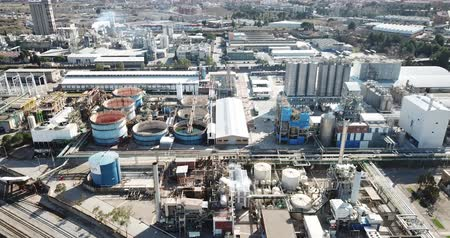 baca : Industrial background with large factory, view from drone Stok Video