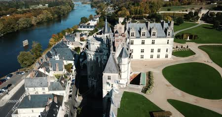 fortificado : Royal Chateau in Amboise - castle in Loire valley, France Stock Footage