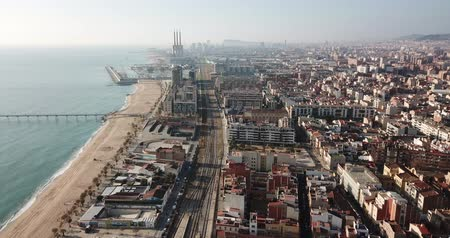 бульвар : BADALONA, SPAIN - JANUARY 19, 2019: Aerial panoramic view of Badalona in Spain, Spain