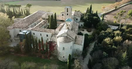 romanico : Aerial view of the cultural and touristic complex of Mon Sant Benet in Catalonia, Spain