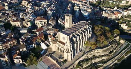 pyreneje : Aerial view of Manresa - town near Pyrenees mountains in Catalonia