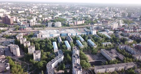 elhelyezkedés : IVANOVO, RUSSIA - MAY 10, 2019: Aerial panoramic view of the cityscape on banks of Uvod River in spring day