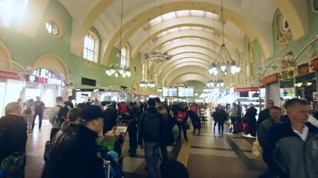 reconstructed : MOSCOW, RUSSIA - MAY 01, 2019: Interior of busy Moscow Kazansky railway station