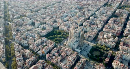 avenida : Panoramic view of Barcelona and the Sagrada Familia in Barcelona at sunny summer day