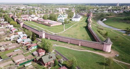 megmentő : Panoramic aerial view of Savior-Euthimiev monastery at Suzdal. Russia Stock mozgókép