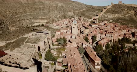 historical reconstruction : Aerial view of ruins of ancient fortified castle of Albarracin, Aragon, Spain Stock Footage