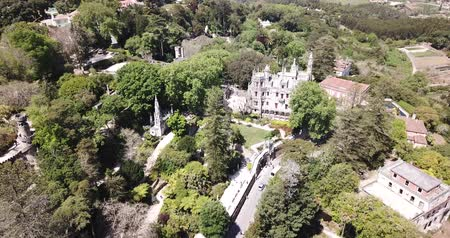 regaleira : Picturesque landscape with palace Quinta da Regaleira, Unesco Heritage near historic center of Sintra, Portugal Stock Footage