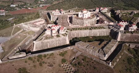 фасонный : Aerial view of finest example of trace italienne in military architecture  - star-shaped Conde de Lippe Fort in Portuguese municipality of Elvas