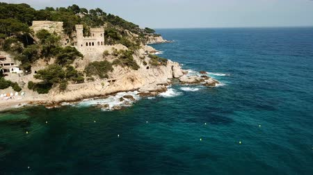 domein : View from drone of Castell den Plaja in Mediterranean coastal town of Lloret de Mar, Catalonia, Spain