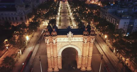 mudejar : Aerial view of iconic landmark of Barcelona - Triumphal Arch (Arco de Triunfo) on central avenue at twilight, Spain