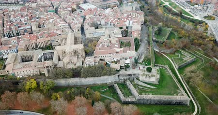 citadela : View from drone of medieval town of Pamplona in valley of Arga river, Navarre, Spain