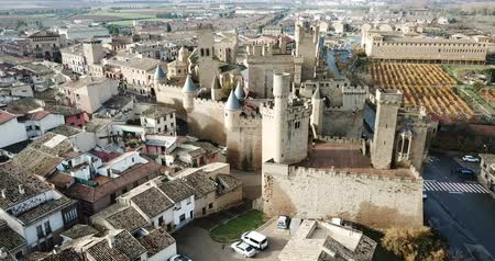 mudejar : Picturesque autumn landscape of Olite with imposing medieval Palace of Kings of Navarre, Spain