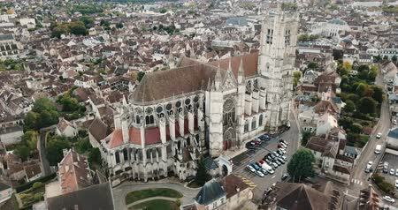 reddish : Aerial view of historic city of Auxerre with Roman Catholic Cathedral, Burgundy, France