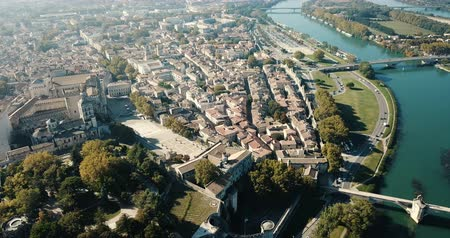 zastřešení : View from drone of French city of Avignon and river Rhone at sunny day