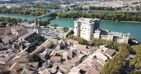 zastřešení : View from drone of castle of Tarascon and river Rhone, France