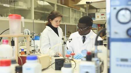 competence : Portrait of proffesional male and female lab cientists in interior of laboratory Stock Footage