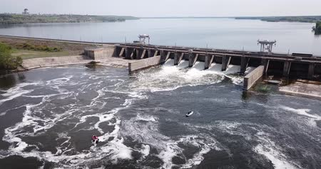 russo : Aerial view of pressure water dam on the river in Voronezh city, Russia