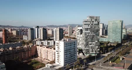 úhlopříčka : Barcelona, Spain - March 05, 2019: Modern high-rise buildings in the coastal residential areas of Diagonal Mar and Poblenou