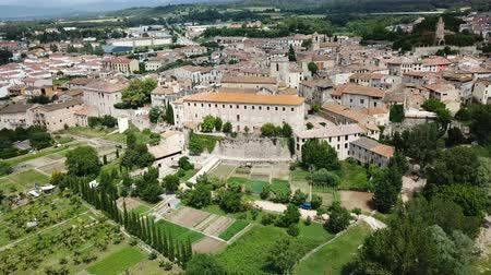 katalán : Panoramic view from drone of fortified village of Besalu with Fluvia river and medieval arched bridge, Spain Stock mozgókép