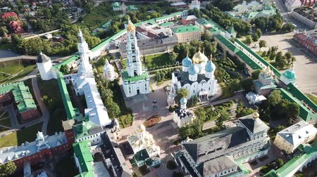 assumption : Panoramic view of unique monastery complex of Trinity Lavra of St. Sergius in sunny day, Sergiev Posad, Moscow region, Russia Stock Footage