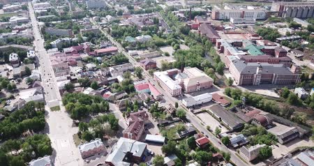 озеленение : View from drone of Yegoryevsk modern cityscape, Moscow Oblast, Russia