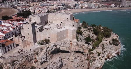 baleár : Picturesque aerial view of coastal line of Spanish tourist town of Peniscola with medieval castle on crag