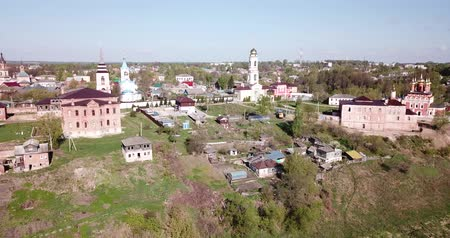 steeples : Scenic cityscape of Belyov town overlooking residential areas and church steeples in sunny spring day, Russia Stock Footage