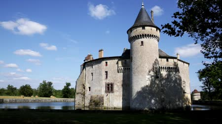 bales : View of medieval castle Chateau de la Brede in Gironde. France
