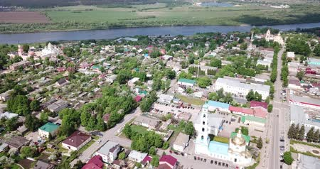 sovyet : Aerial panoramic view of old city center of Kashira, Russia