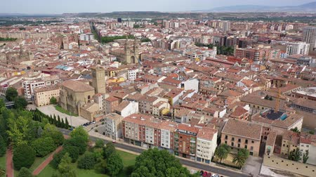 spanish style : View from drone of  Logrono city, with landscape and  buildings, Spain