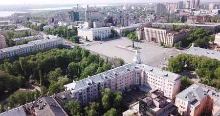 lenin : Voronezh, Russia - May 5, 2019:  Aerial view of Russian city Voronezh – administrative center and Lenin square