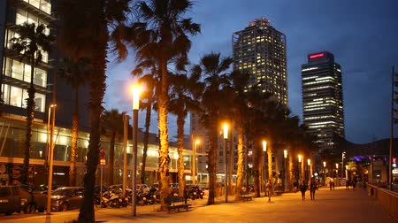 dark bay : BARCELONA, SPAIN - JUNE 13, 2019:  view of Barceloneta beach with Mapfre tower and Arts Hotel in Barcelona in night