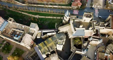 palacio real : Aerial view of castle Palacio Real de Olite. Navarre. Spain Stock Footage