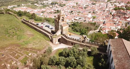 neglected : Panoramic view from drone of the castle Montemor o Novo. The Alcaides palace ruins. Evora district. Alentejo, Portugal Stock Footage