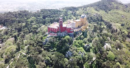 sao : Picturesque Sintra Mountains landscape in sunny spring day with Romanticist castle of Pena Palace, Portugal Stock Footage