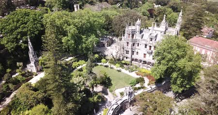 portugál : Quinta da Regaleira palace in the municipality of Sintra. Panoramic view from drone. Portugal