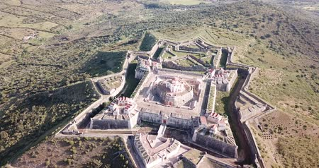 monumentális : Aerial view of fortress  of Nossa Senhora da Graca, famous landmark in Elvas, Portugal
