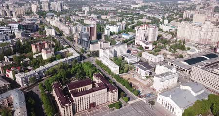 voronezh : View from drone of  center of Voronezh with Lenin Square and panel buildings, Russia Stock Footage