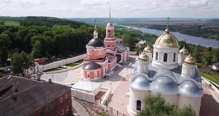 ortodoxia : Nikitsky monastery from helicopter. Transfiguration temple. City Kashira. Russia